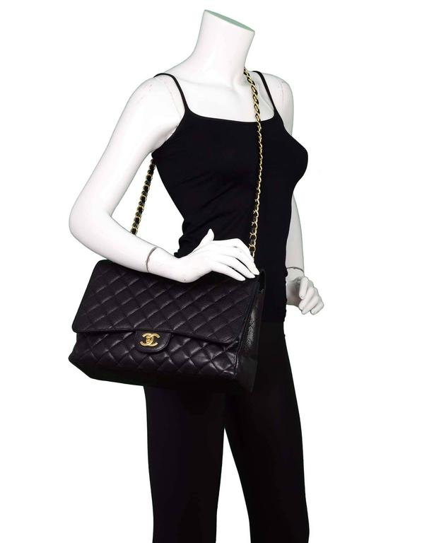 Chanel Black Caviar Leather Quilted Single Flap Maxi Bag GHW rt. $6,000 9