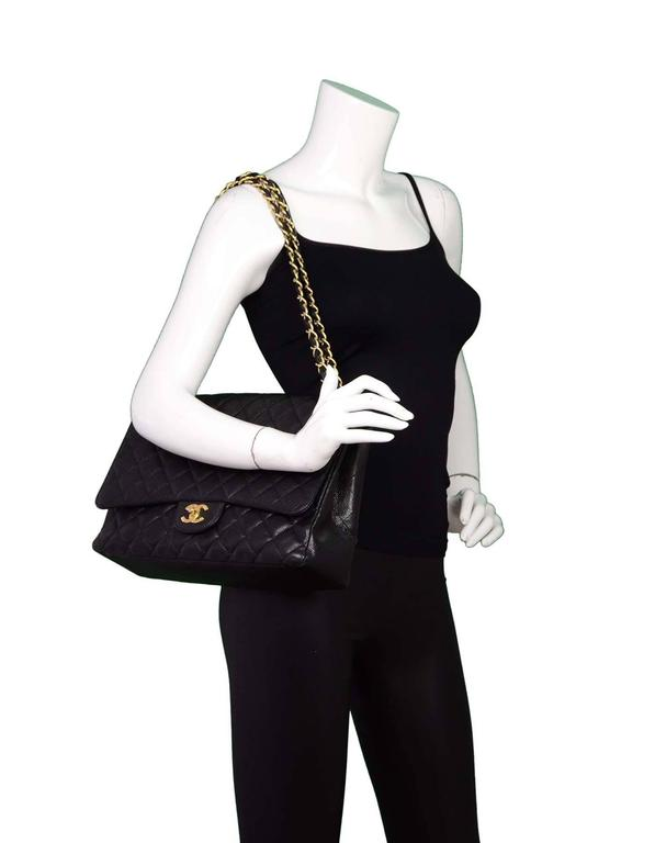 Chanel Black Caviar Leather Quilted Single Flap Maxi Bag GHW rt. $6,000 2