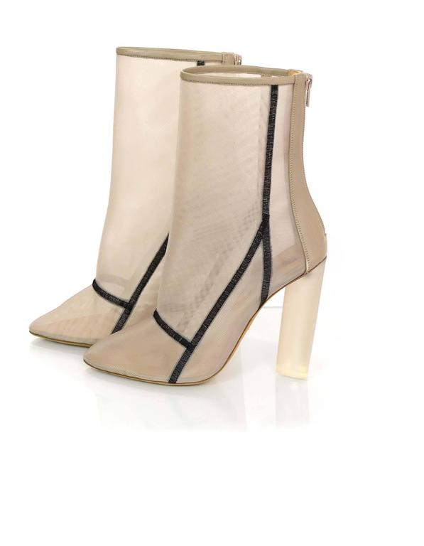 84ea0728ed5fa Yeezy Season 3 Bone Mesh Ankle Boots Sz 39.5 NIB Features plexi mesh heels  and black