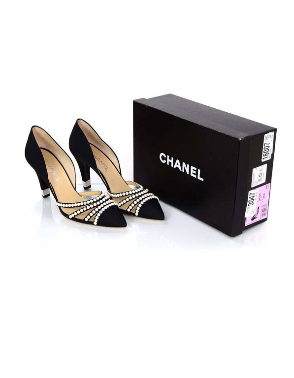 Chanel 2016 NIB Black Grosgrain and Faux Pearl D'Orsay Pumps Sz 39.5 RT. $1,100 7