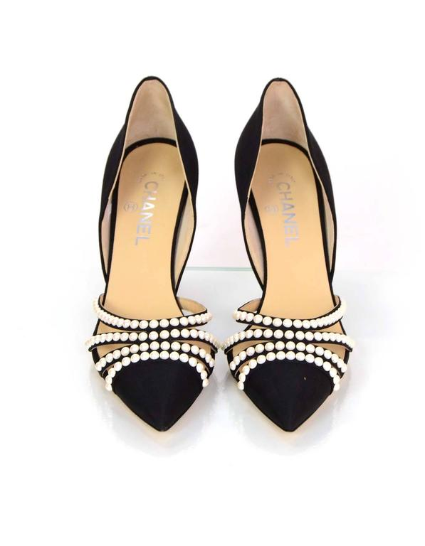 Chanel 2016 NIB Black Grosgrain and Faux Pearl D'Orsay Pumps Sz 39.5 RT. $1,100 3