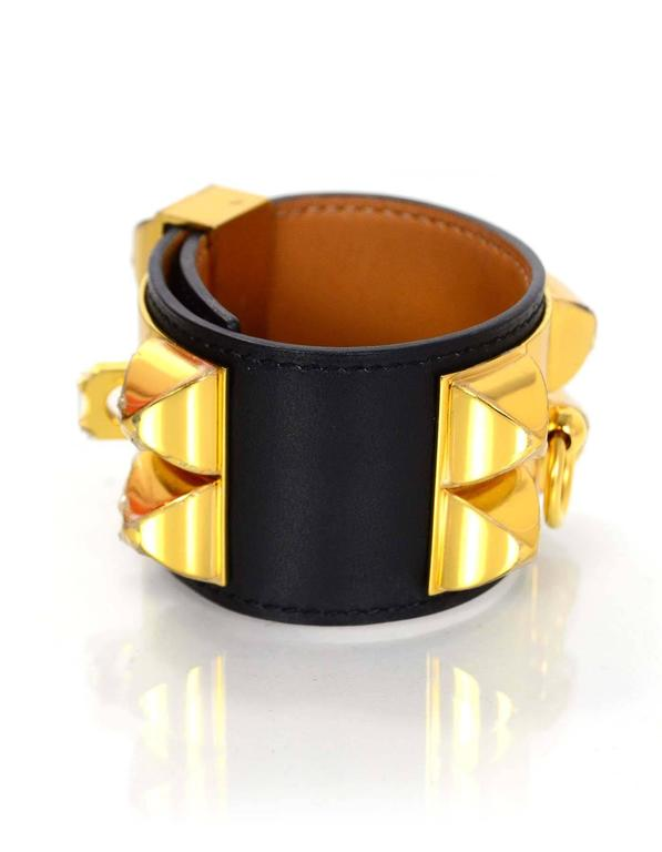 Hermes Black & Gold Collier de Chien CDC Cuff Bracelet sz S In Excellent Condition For Sale In New York, NY