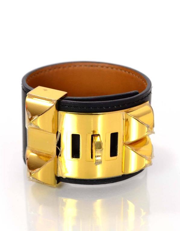 Women's Hermes Black & Gold Collier de Chien CDC Cuff Bracelet sz S For Sale