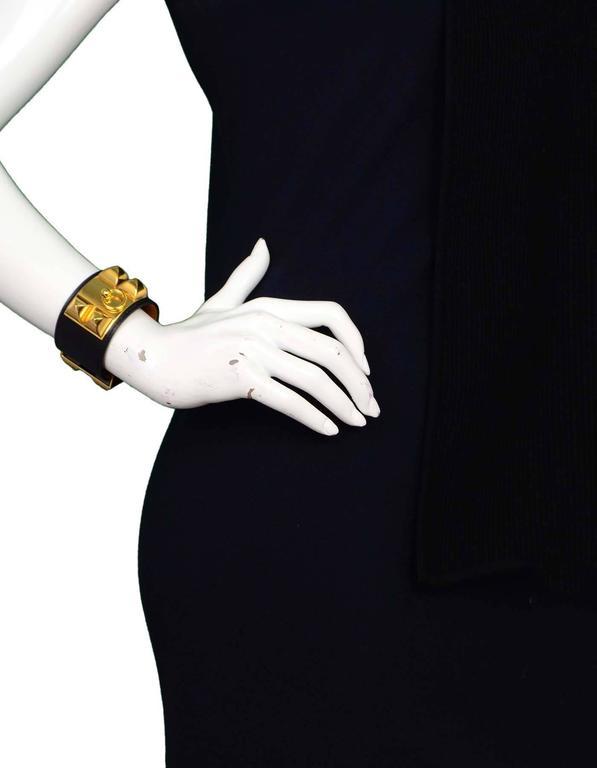 Hermes Black & Gold Collier de Chien CDC Cuff Bracelet sz S For Sale 3