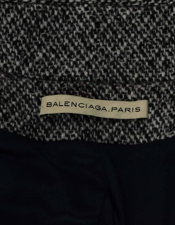 Women's Balenciaga Black and White Tweed Jacket Sz 40 For Sale