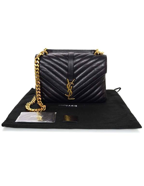 e50484a2fb Saint Laurent Black Leather Chevron Medium Monogram College Crossbody Bag  For Sale 5