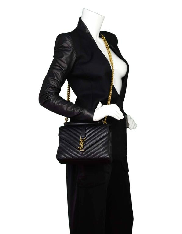 64688cef78 Saint Laurent Black Leather Chevron Medium Monogram College Crossbody Bag  For Sale 6