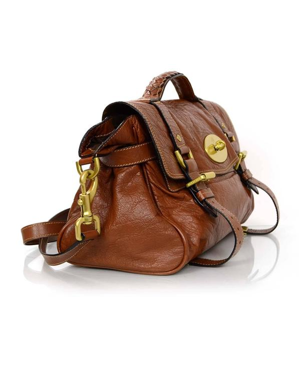 Brown Mulberry Tan Leather Medium Alexa Satchel Bag  For Sale