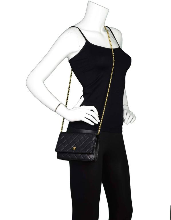 06a56bb86e6e Chanel Black Caviar Leather WOC Wallet On Chain Crossbody Bag GHW For Sale 6