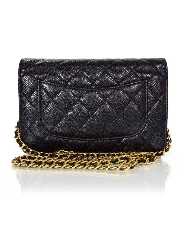 541e70dad452 100% Authentic Chanel Black Caviar Leather WOC with Goldtone Hardware. This  classic quilted flap