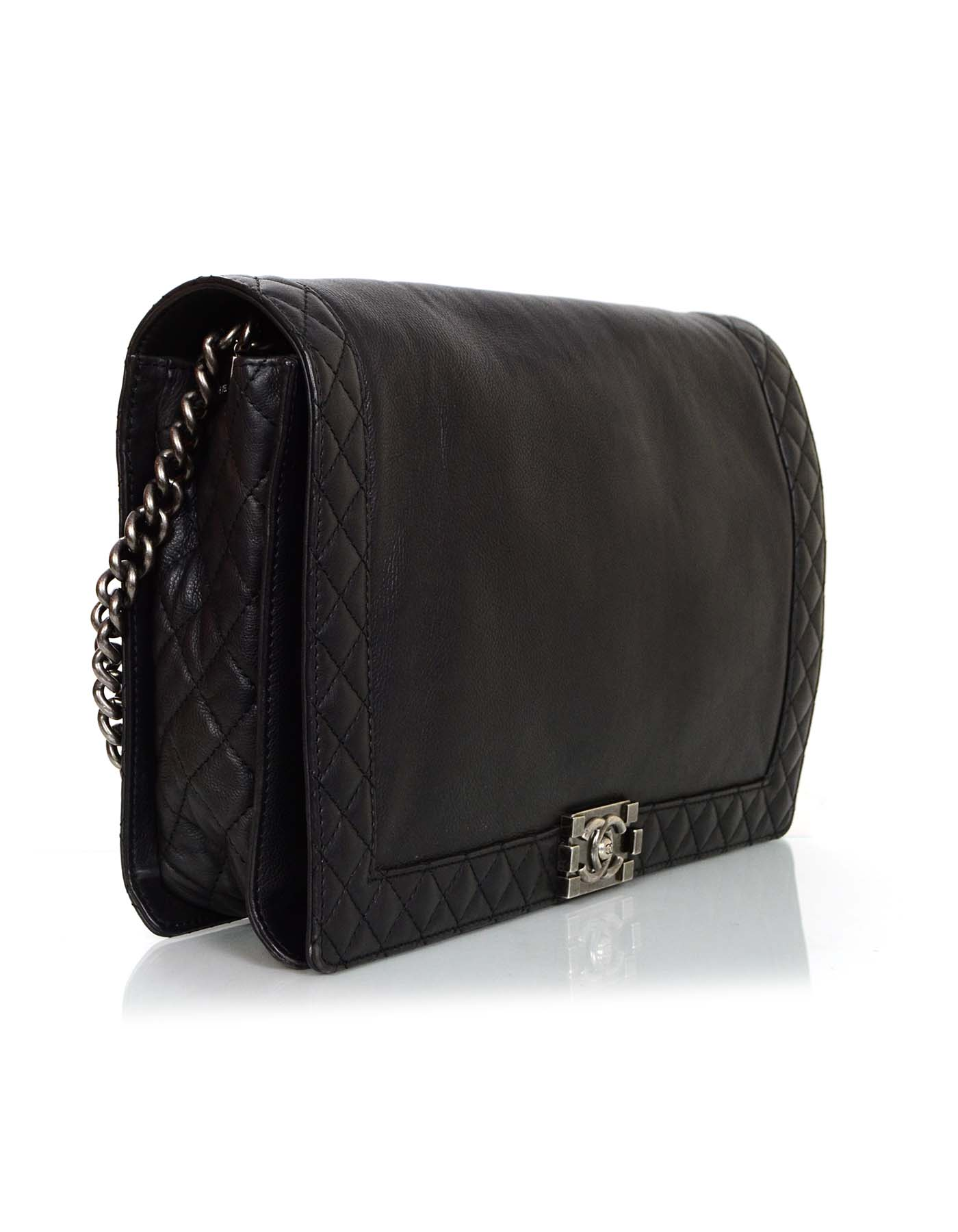 5c67b1406b4a Chanel Black Calfskin Leather Large Boy Reverso Bag rt. $5,300 For Sale at  1stdibs