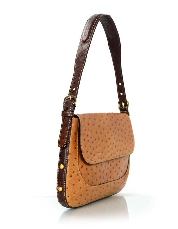 Brahmin Tan Embossed Ostrich Shoulder Bag In Good Condition For New York Ny