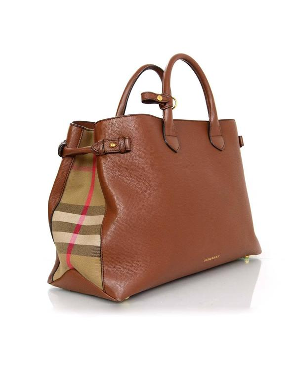 dcbbc71019b3 Burberry Brown Leeather Large Banner Tote Bag w  Strap rt.  1