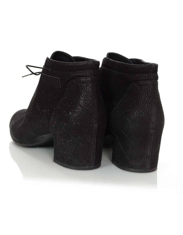 Chanel Black Suede Lace Up Heeled Ankle Boots Sz 42 For Sale 2