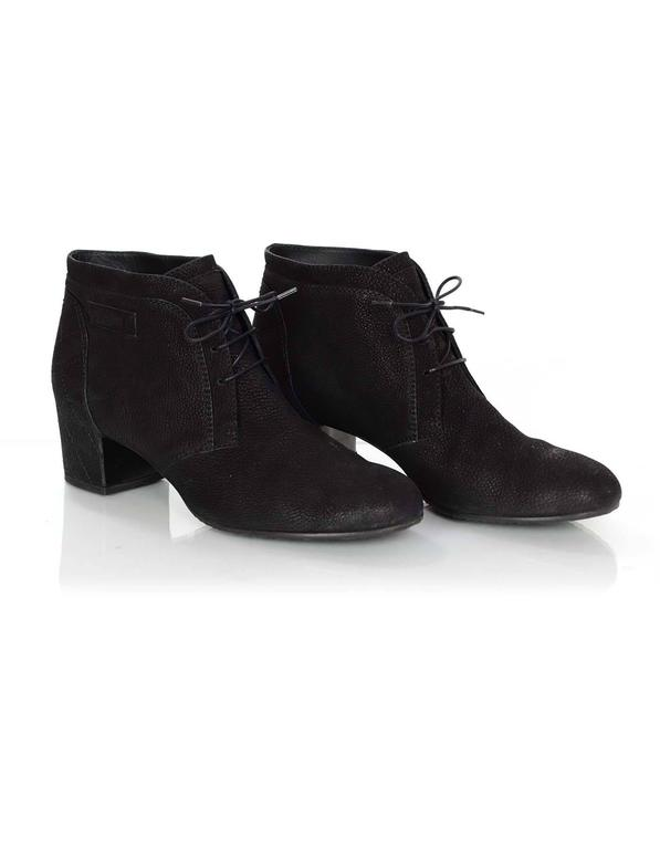 Chanel Black Suede Lace Up Heeled Ankle Boots Sz 42 For Sale 1