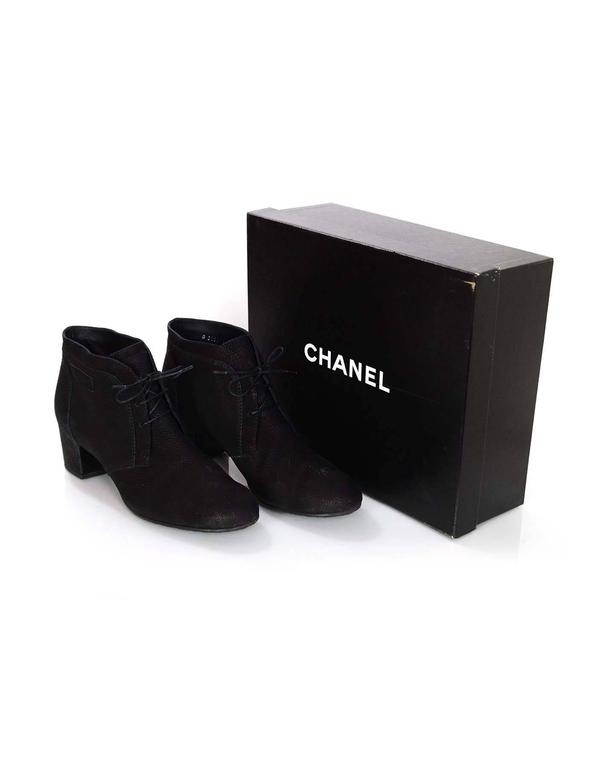 Chanel Black Suede Lace Up Heeled Ankle Boots Sz 42 For Sale 4
