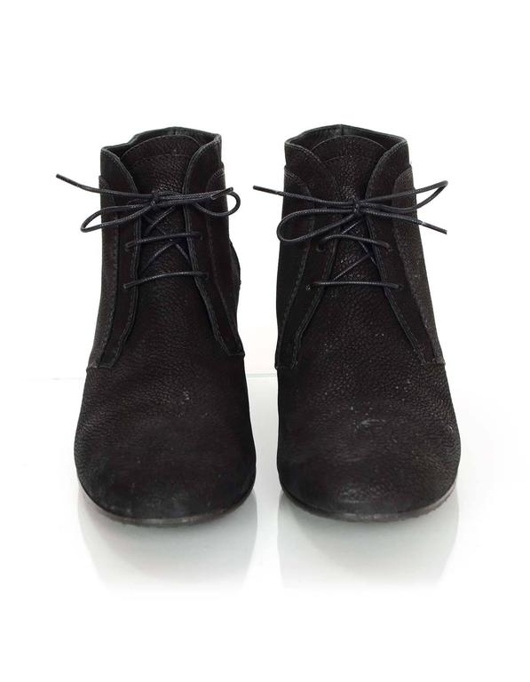 Women's Chanel Black Suede Lace Up Heeled Ankle Boots Sz 42 For Sale