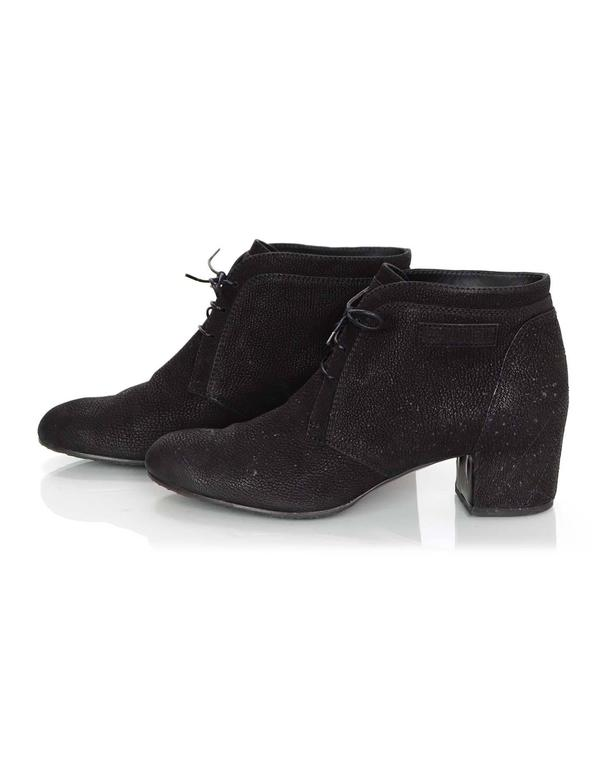 Chanel Black Suede Lace Up Heeled Ankle Boots Sz 42 In Excellent Condition For Sale In New York, NY