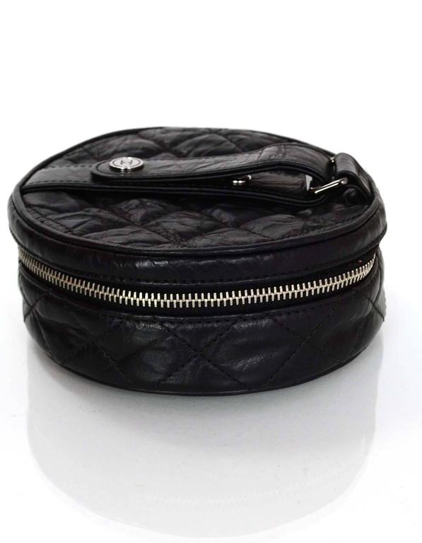 Chanel Black Distressed Leather Jewelry Case In Excellent Condition For Sale In New York, NY