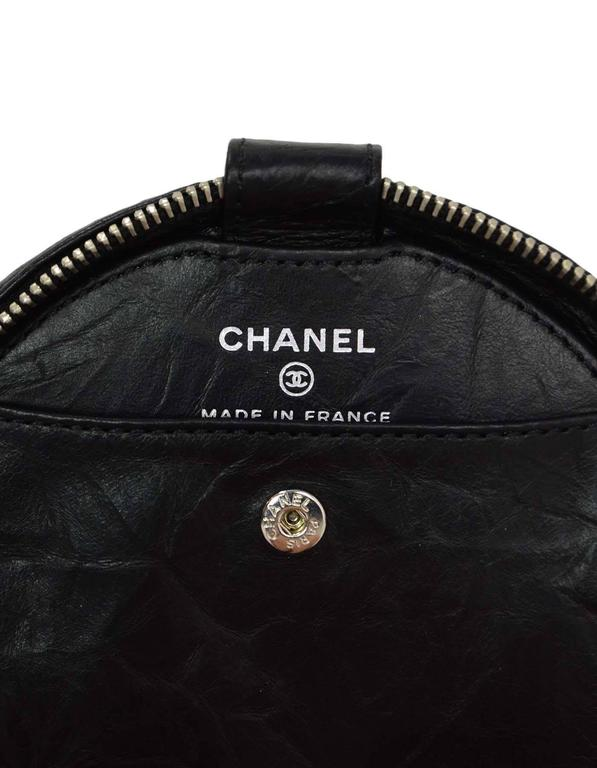 Chanel Black Distressed Leather Jewelry Case For Sale 1