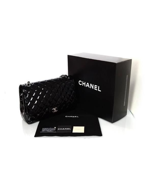 Chanel Black Patent Leather Single Flap Maxi Bag with SHW For Sale 6