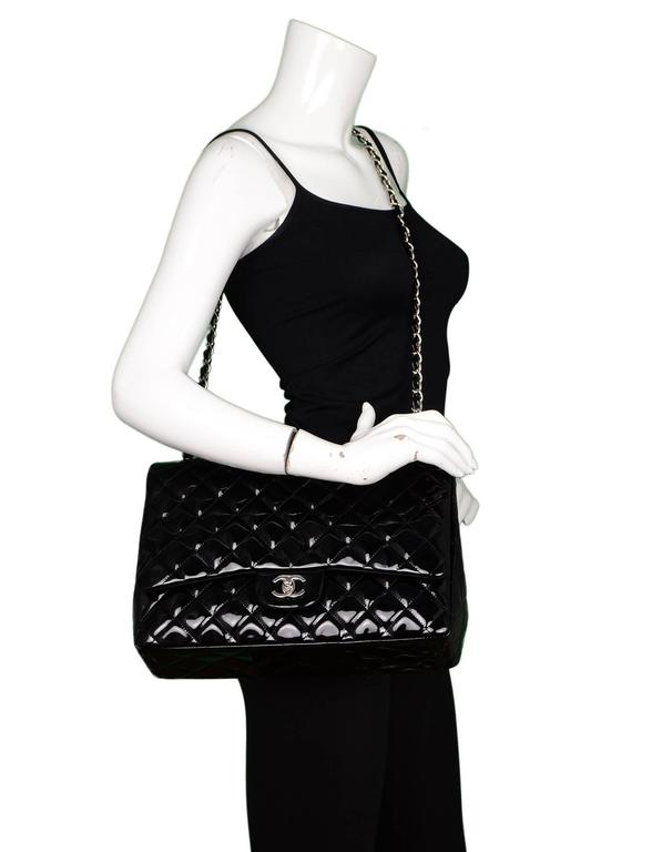 Chanel Black Patent Leather Single Flap Maxi Bag with SHW For Sale 5