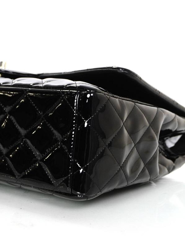 Chanel Black Patent Leather Single Flap Maxi Bag with SHW For Sale 1