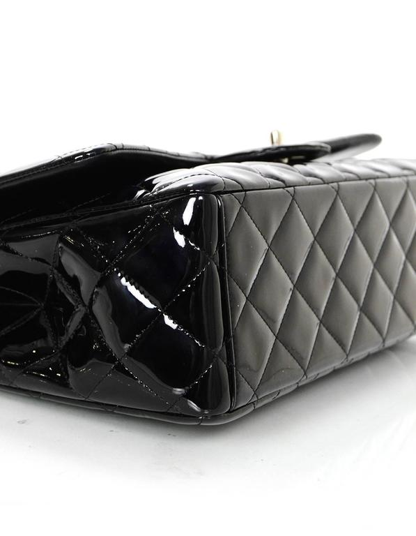 Women's Chanel Black Patent Leather Single Flap Maxi Bag with SHW For Sale