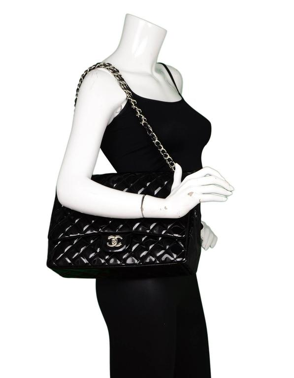 Chanel Black Patent Leather Single Flap Maxi Bag with SHW