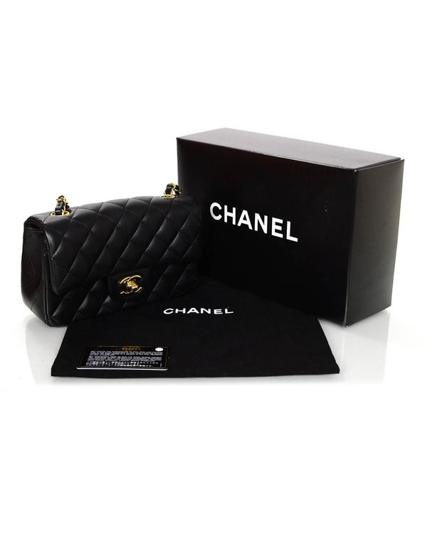 5f67b6c8ad8f Chanel 2015 Black Lambskin Rectangular Mini Flap Bag with GHW For Sale 6