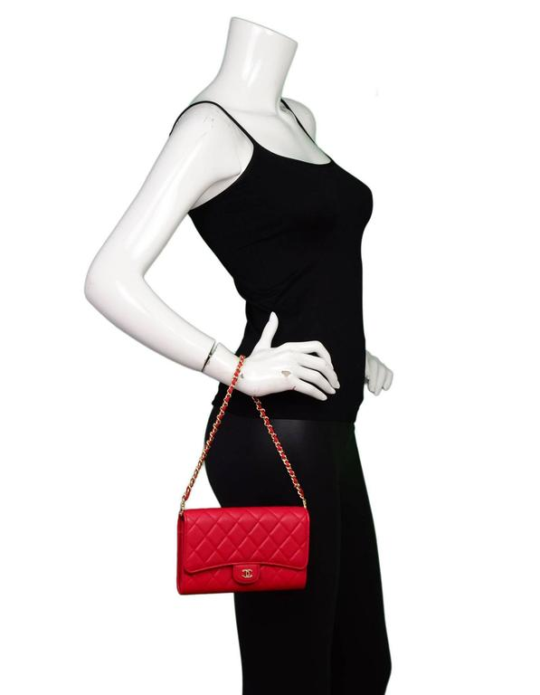 218257b8d47a3 Chanel Red Quilted Lambskin Wallet with Detachable Chain Bag  Clutch For  Sale. Chanel Red Lambskin Mini Bag with GHW Features optional chain link  handle