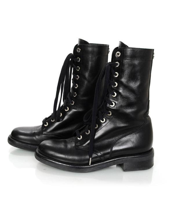 Chanel Black Leather Lace Up Combat Boots Sz 40 For Sale