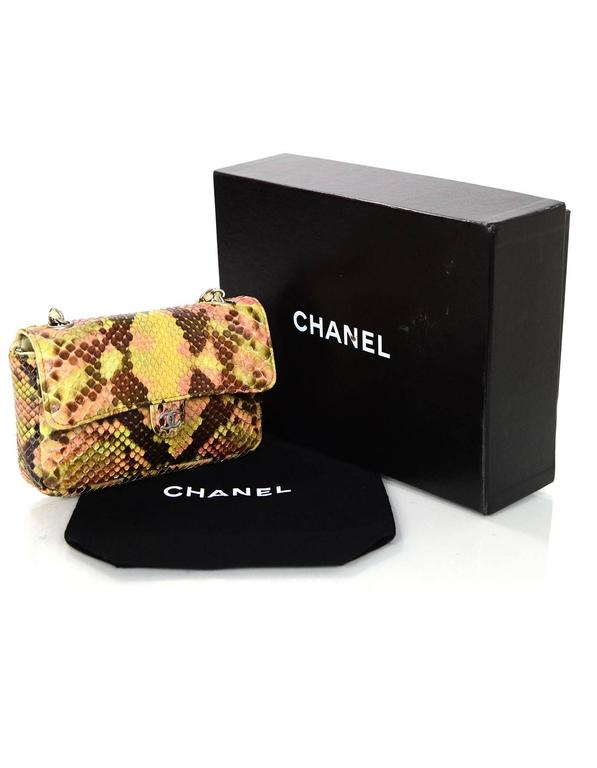 Chanel Pink and Brown Snakeskin Mini Crossbody Flap Bag 10