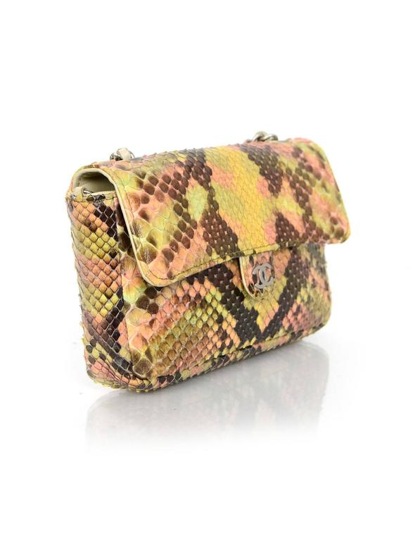 Chanel Pink and Brown Snakeskin Mini Crossbody Flap Bag 3