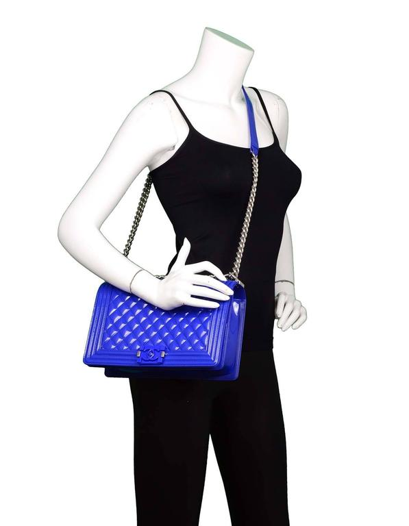 Chanel Blue Patent Leather & Plexi Glass New Medium Boy Bag 2