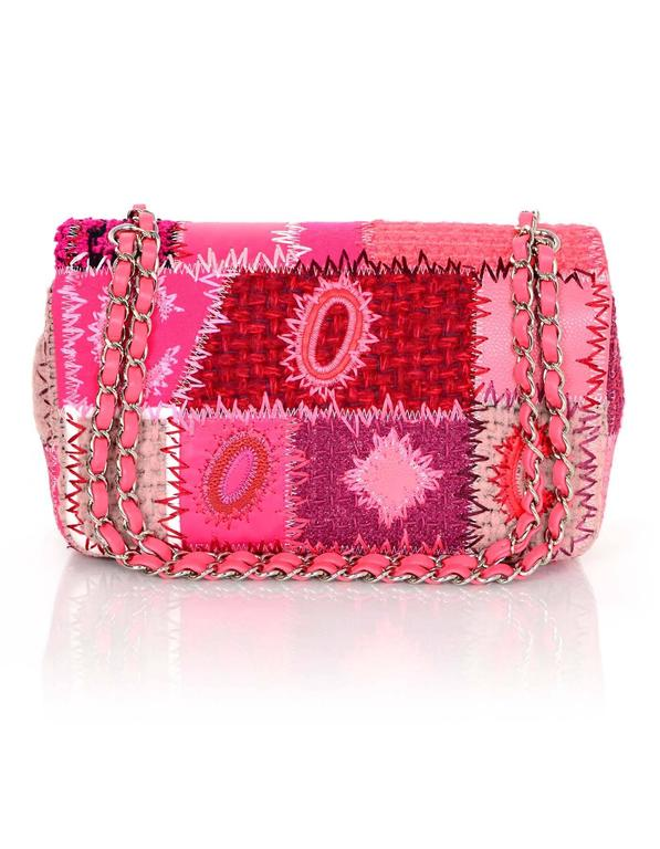 "Women's Chanel 2016 Pink Tweed & Leather Patchwork 10"" Classic Single Flap Bag For Sale"