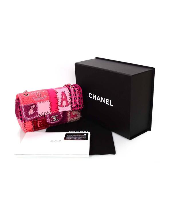 "Chanel 2016 Pink Tweed & Leather Patchwork 10"" Classic Single Flap Bag For Sale 6"