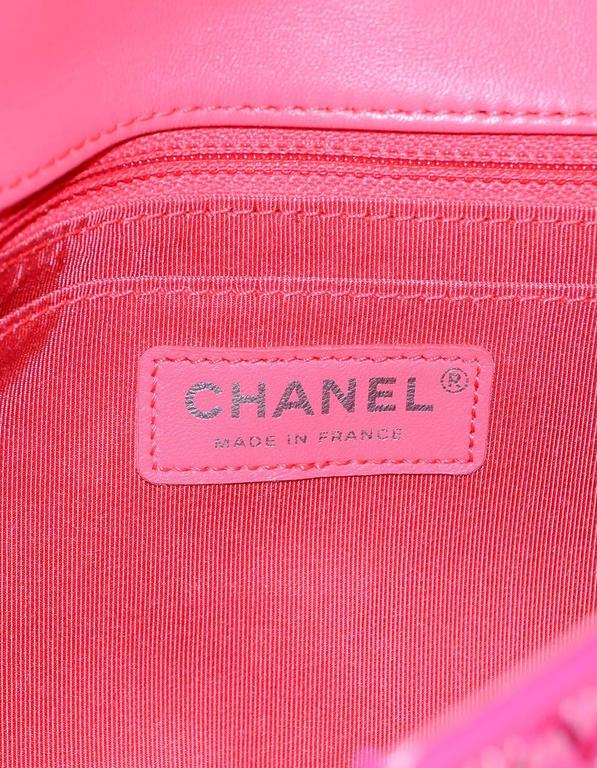 "Chanel 2016 Pink Tweed & Leather Patchwork 10"" Classic Single Flap Bag For Sale 4"