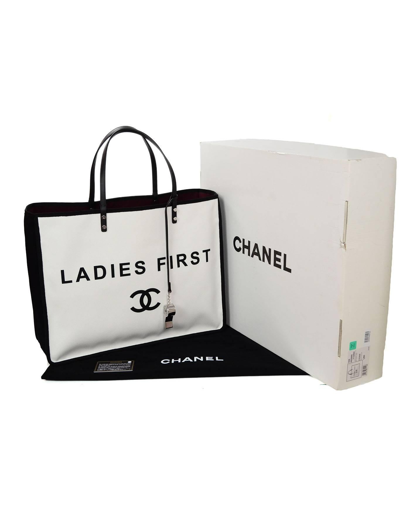 060e74a752f9 Chanel 2015 Like New Black and White Canvas Ladies First Tote Bag For Sale  at 1stdibs
