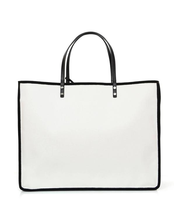 237e3f4fe287 Women's Chanel 2015 Like New Black and White Canvas Ladies First Tote Bag  For Sale