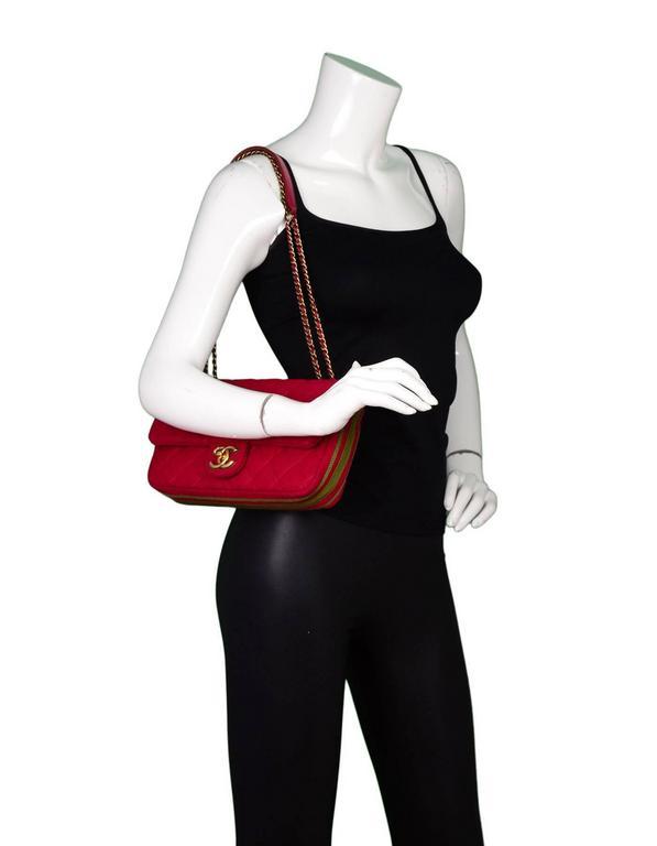 Chanel 2015 Red Wool & Grosgrain Flap Bag For Sale 5