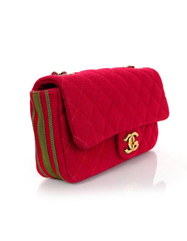 Chanel 2015 Red Wool & Grosgrain Flap Bag In Excellent Condition For Sale In New York, NY