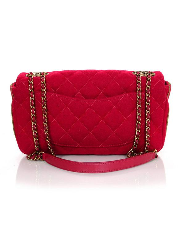 Chanel 2015 Red Wool & Grosgrain Flap Bag 4