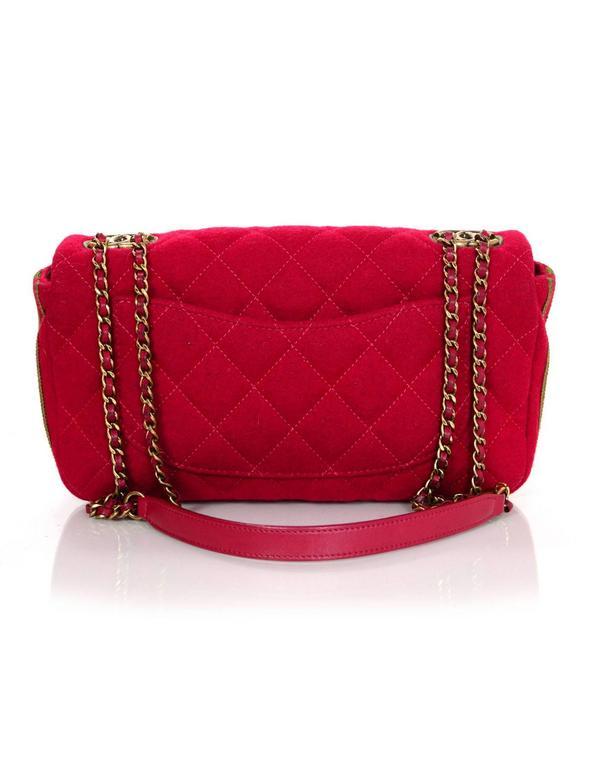Women's Chanel 2015 Red Wool & Grosgrain Flap Bag For Sale