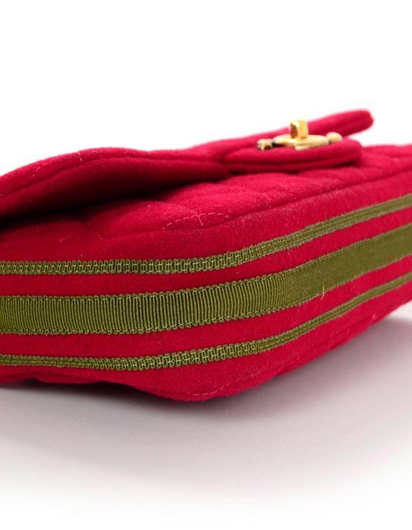 Chanel 2015 Red Wool & Grosgrain Flap Bag For Sale 1
