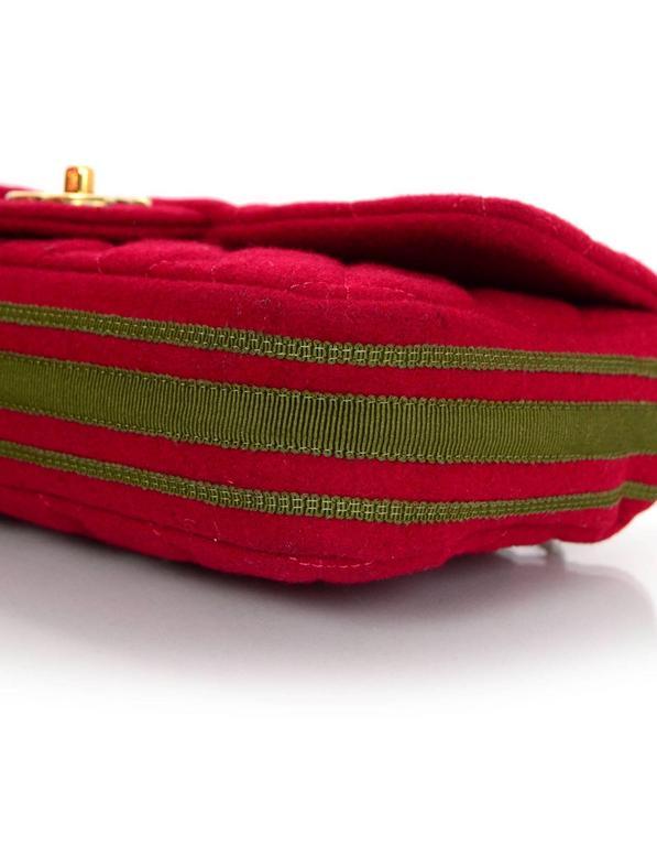 Chanel 2015 Red Wool & Grosgrain Flap Bag For Sale 2