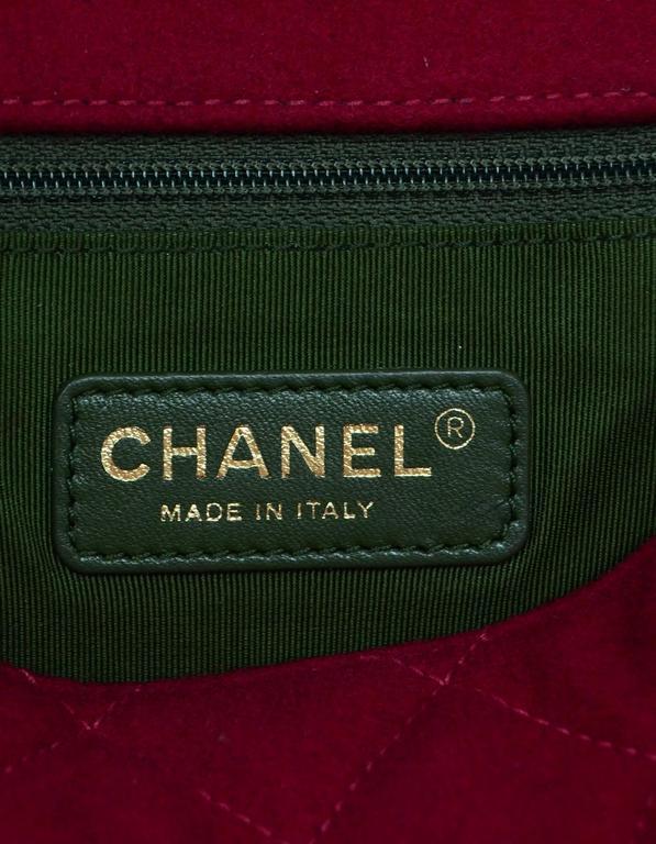 Chanel 2015 Red Wool & Grosgrain Flap Bag For Sale 4