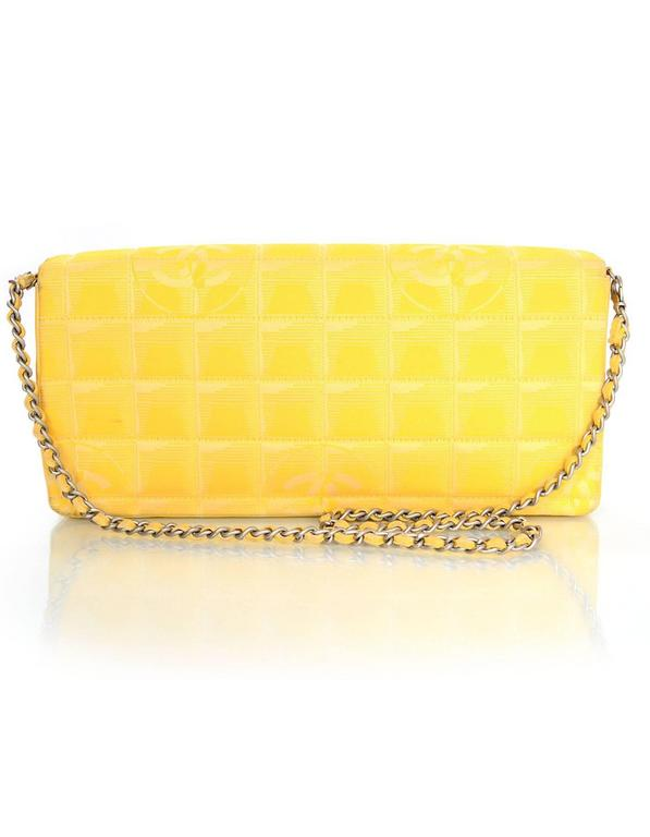 Chanel Yellow Canvas Chocolate Bar Quiltes East West Shoulder Bag 4