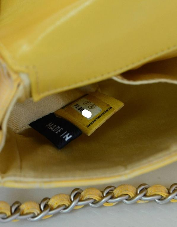 Chanel Yellow Canvas Chocolate Bar Quiltes East West Shoulder Bag 9