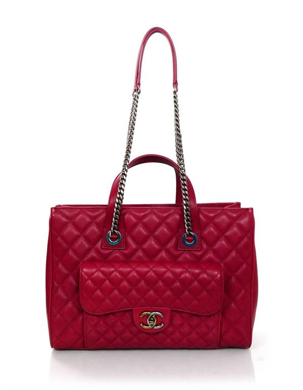 Chanel New Red Caviar Leather Tote Features Front Flap Pocket That Closes With A Two Tone